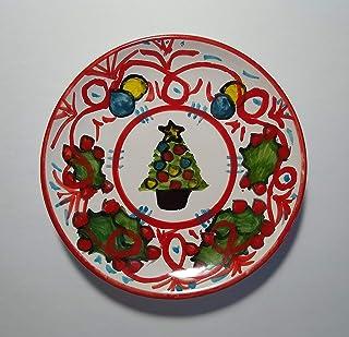 Natale-Piatto di ceramica fatto a mano,diametro cm 14,2 alto cm 2,3-Made in Italy,Toscana,Lucca.Creato da Davide Pacini.