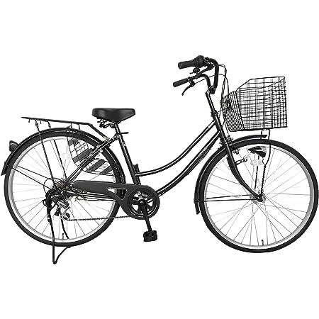 自転車 26インチ サントラスト ママチャリ 6段変速ギア オートライト ギア付き かぎ付き LECIEL ルシール ブラック 黒
