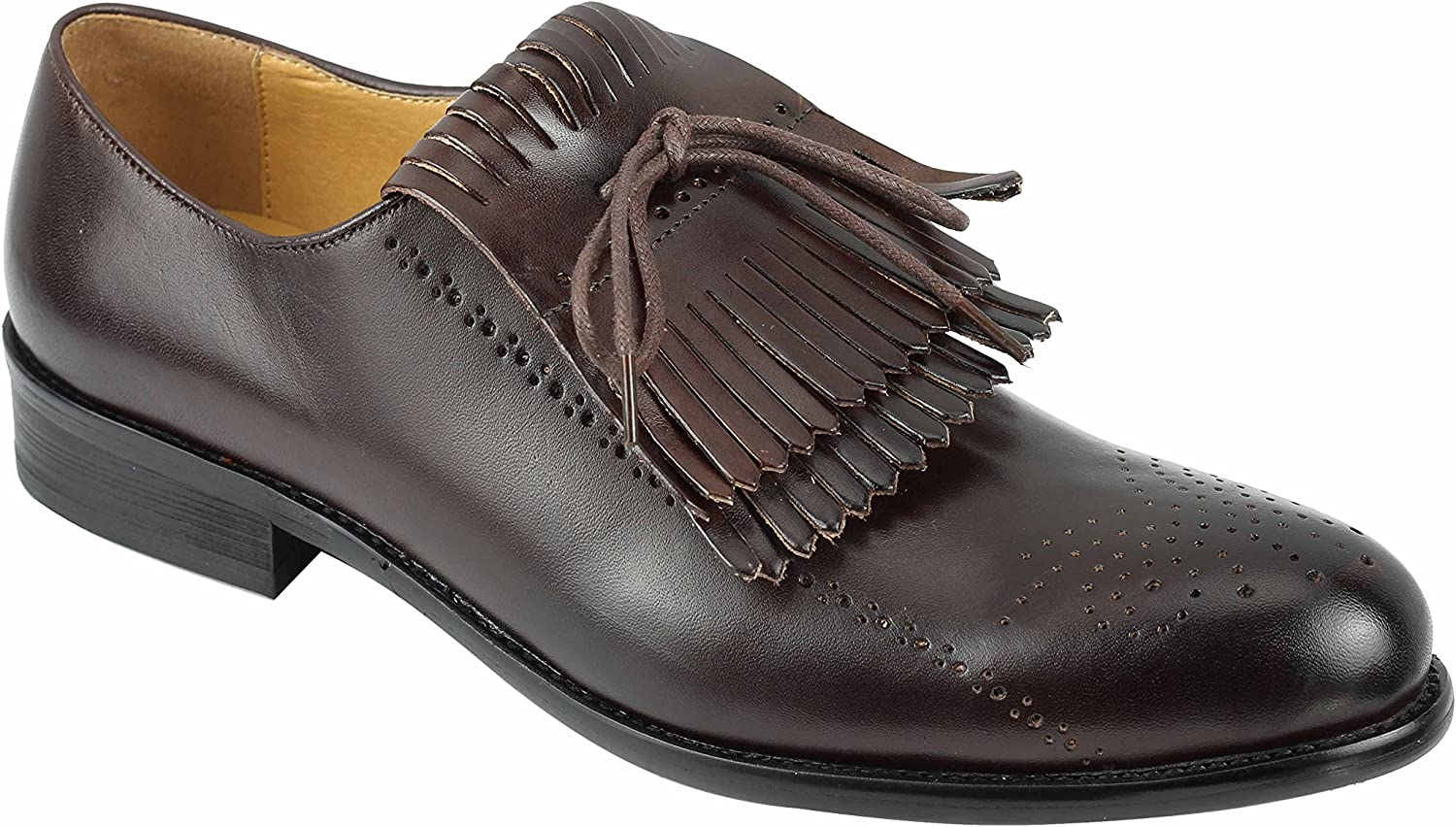 Men's Black Brown Maroon Leather Detachable Fringed Vintage Lace up Oxford Smart Evening Dress shoes