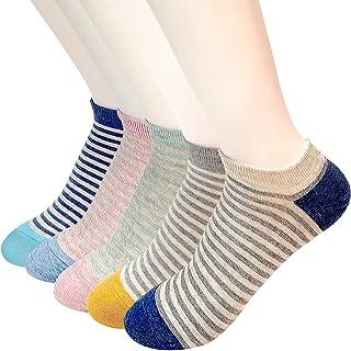 Calcetines tobilleros para mujer de 4 a 6 unidades, diseño de rayas, cómodos