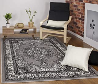 Antep Rugs Siesta Collection Traditional Oriental Polypropylene Indoor Area Rug (Gray/Beige, 5' X 7')