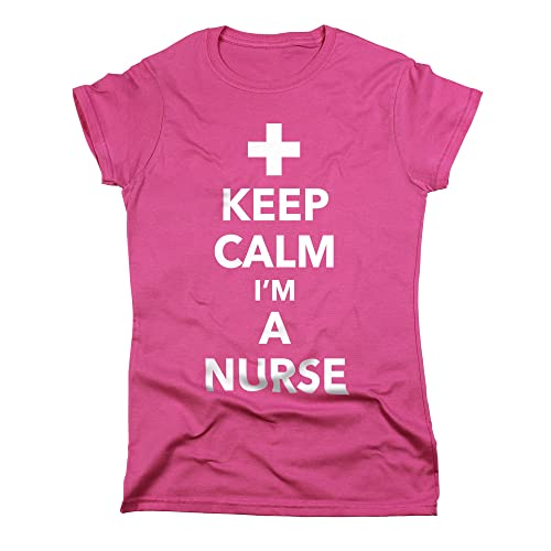 ee7319bc Nutees Keep Calm I'm A Nurse Funny Cool Womens T Shirt - Pink