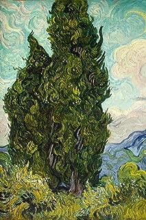 Vincent Van Gogh Cypresses 1889 Dutch Post Impressionist Landscape Painting Cool Wall Decor Art Print Poster 24x36