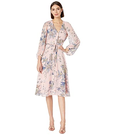 Vince Camuto Printed Chiffon Balloon Sleeve V-Neck Fit and Flare Dress (Blush) Women