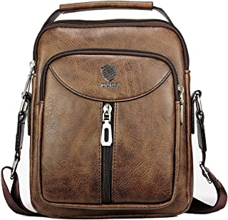 Elios Coffee Front Zipper Stylish PU Leather Large Capacity Work Travel Wear Messenger Bag for Men