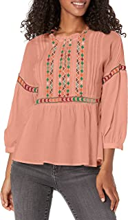 Lucky Brand Women's EMBROIDERED PEASANT TOP Shirt