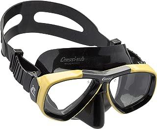 First Dive 面膜带倾斜镜片,适合水肺潜水 - 光学镜片,由 Cressi 制造,品质始于 1946 年
