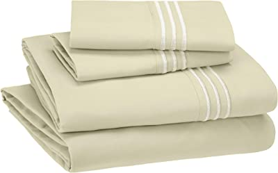 AmazonBasics Embroidered Hotel Stitch Sheet Set - Premium, Soft, Easy-Wash Microfiber - Queen, Aloe Green - with pillow covers