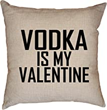 Hollywood Thread Love Vodka is My Valentine Drinking Funny Decorative Linen Throw Cushion Pillow Case with Insert