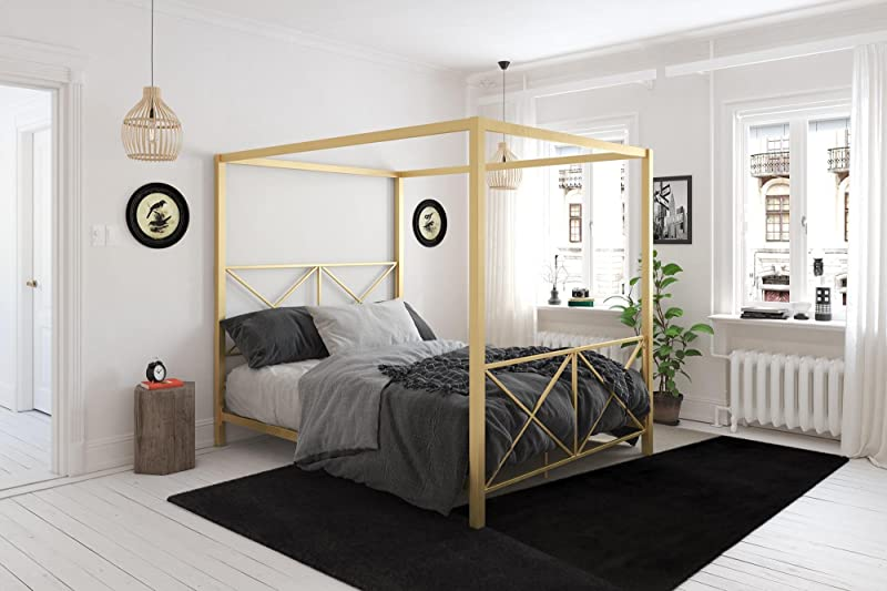 DHP Rosedale Canopy Bed Gold Queen