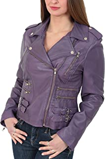 HOL Womens Real Leather Biker Motorcycle Style Fitted Cross Zip Jacket Cara Purple