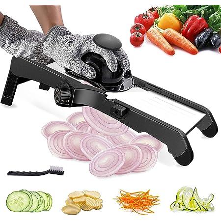 Julienne Trancheuse professionnelle, Mandoline 3 en 1, réglable pour légumes, trancheuse pour nourriture, fruits et légumes. Fine de 1 mm à 9 mm avec gants de sécurité
