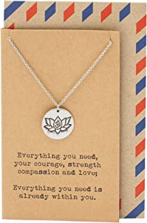 Quan Jewelry Yoga Necklace, Lotus Flower Charm with Greeting Card, Protection Friendship Charm, Om Lotus New Beginnings Pe...
