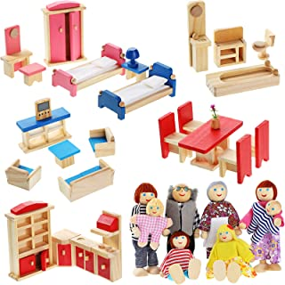 Wooden Dollhouse Furniture Doll House Furnishings with 8 Pieces Winning Doll Family Set, Dollhouse Accessories for Boys Gi...