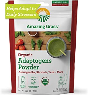 Amazing Grass Adaptogens Booster: Greens Powder with Ashwagandha, Rhodiola, Chaga & Tulsi, Smoothie Booster, 30 Servings