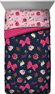 Jay Franco Nickelodeon JoJo Siwa Roses & Bows Twin Comforter - Super Soft Kids Reversible Floral Bedding - Fade Resistant Polyester Microfiber Fill (Official Nickelodeon Product)