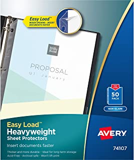 "Avery Heavyweight Non-Glare Sheet Protectors, 8.5"" x 11"", Acid-Free, Archival Safe, Easy Load, 50ct (74107)"