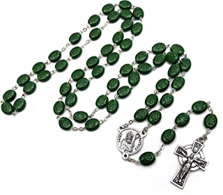 """Elysian Gift Shop 24"""" Irish Shamrock Beads Green Rosary with Silver Tone Celtic Cross and St. Patrick Medal Centerpiece"""