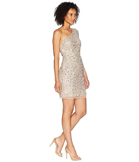 Adrianna Papell One Shoulder Fully Beaded Cocktail Dress Champagne Cheap Sale Pay With Visa Cheap Official Site UOcdr8Sum
