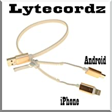 LyteCordz 2 in 1 Zipper No Tangle Charger Charging Cable USB Data Cord Compatible with for iPhone 5/6/7/8/X Android/Micro (White)