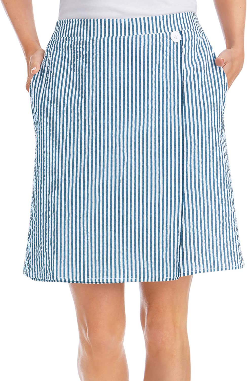 Classic 2-Layer Pull-On Skort Striped Max 74% OFF Seersucker outlet