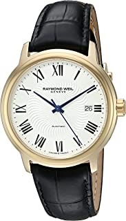 Men's 'Maestro' Swiss Gold-Tone and Leather Automatic Watch, Color:Black (Model: 2237-PC-00659)