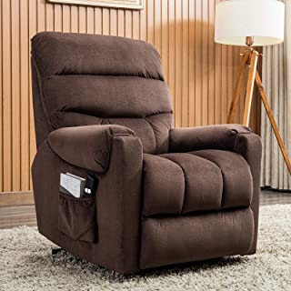 ANJ Power Lift Recliner Chair for Elderly - Heavy Duty and Safety Motion Reclining Mechanism-Antiskid Fabric Sofa Living Room Chair, Dark Brown