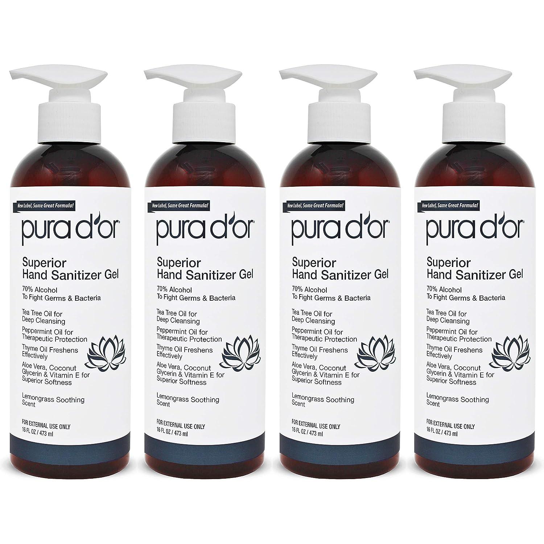 PURA D'OR Hand Excellence Weekly update Sanitizer Gel PACK-16oz LEMONGRASS e Scent 4