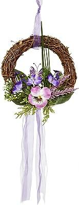 HEITMANN DECO Wandkranz mit Schmetterling und künstlichen Blumen - Türkranz Frühling - Dekoration - Natur, Lila