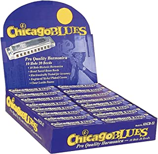 Chicago Blues KHCB32-A Harmonica Assortment Party Pack, 32 Harps in the Keys of C, G & A