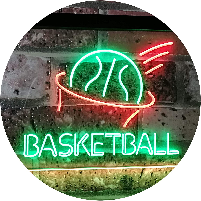 ADVPRO Basketball Sport Man Cave Bar Room Dual Farbe LED Barlicht Neonlicht Lichtwerbung Neon Sign Grün & rot 16  x 12  st6s43-i2581-gr