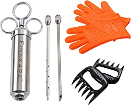 Finnkare Stainless Steel Meat Seasoning Injector Marinade Plus Including BBQ Gloves Cooking Plus Heat Resistant Silicone and Meat Shredding Claws Superior Value BBQ Tool Set