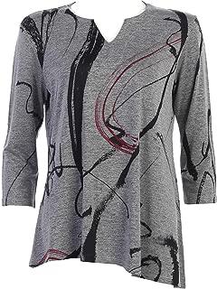 Jess & Jane Women's Matilda V-Slit Neck Asymmetrical Slinky Knit Tunic Top