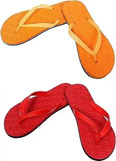 Designer Red And Orange Combo Women's House Slippers