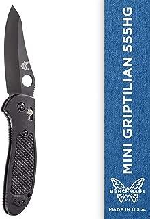 Benchmade - Mini Griptilian 555HG Knife, Sheepsfoot Blade, Plain Edge, Coated Finish, Black Handle