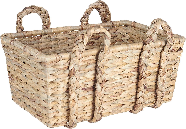 Household Essentials Large Rectangular Floor Storage Basket with Braided Handles, Light Brown