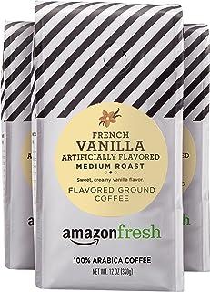AmazonFresh French Vanilla Flavored Coffee, Ground, Medium Roast, 12 Ounce (Pack of 3)