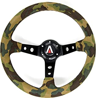 Tanaka 350mm Deep Dish 6 Bolt Suede Leather Camouflage Steering Wheel (Universal) (Camo)