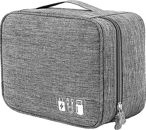 Device of Urban INFOECH Portable Electronic Gadgets Accessories Organizer Bag Universal Travel Gadgets Storage Carrying Bag for Charging Cable Phone Power Bank Mini Tablet Hard Disk Grey