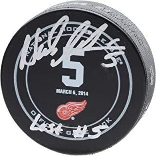 Nicklas Lidstrom Detroit Red Wings Autographed March 6, 2014 Jersey Retirement Night Official Game Puck with