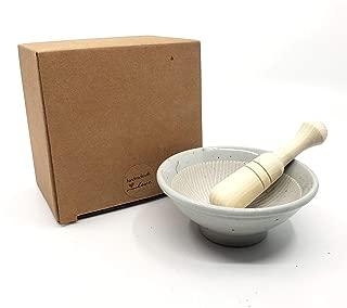 The Elixir Eco Green 4 Inches Mini Porcelain Mortar and Natural Wood Pestle Herb Grinder Pill Crusher Food Safe Spice Grinder Molcajete