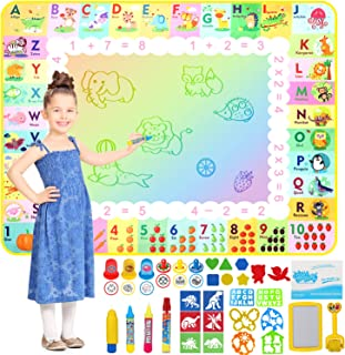Apsung Aqua Doodle Mat 120 x 90cm Large Water Drawing Painting Mat Mess Free Learning Toys for 2 3 4 5 6 Years Old Boys Gi...