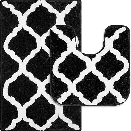 Pauwer Tapis de Bain et WC en Microfibre antidérapant Absorbant et Lavable en Machine (Noir, 53 x 86 cm + 50 x 50 cm)