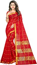 The Fashion Outlets Women's Cotton Silk Manipuri Saree with Blouse (Red)