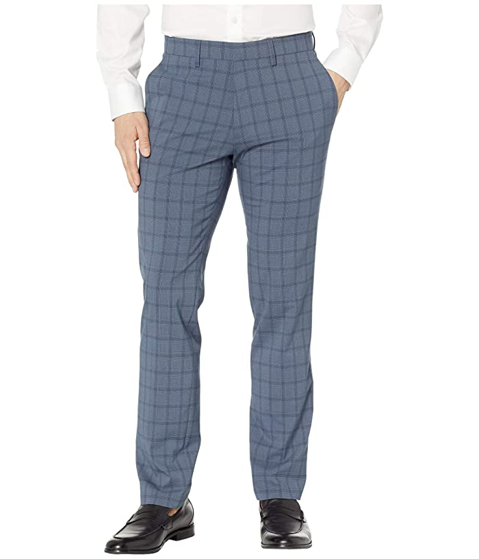 Kenneth Cole Reaction  Stretch Bold Plaid Slim Dress Pants (Dark Blue) Mens Casual Pants