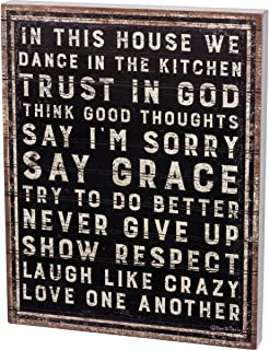 Primitives by Kathy 30372 Rustic Wooden Box Sign, 15 x 19-Inches, Dance in The Kitchen