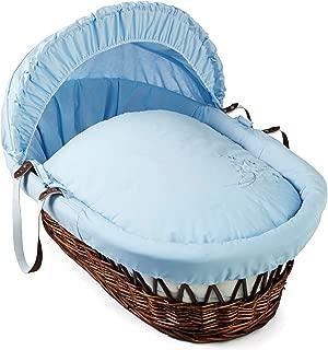 Clair de Lune Starburst Dark Wicker Moses Basket inc. Bedding, Mattress, Adjustable Hood & Rocking Stand (Blue)