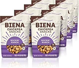 BIENA Rockin' Ranch Chickpea Snacks   Gluten Free   Vegan   Dairy Free   Plant-Based Protein (8 Pack)