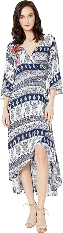 Printed Crinkle Gauze Faux Wrap Dress with Embroidery