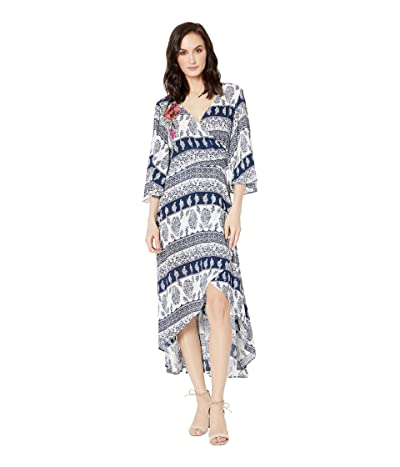 Tribal Printed Crinkle Gauze Faux Wrap Dress with Embroidery (Ink) Women
